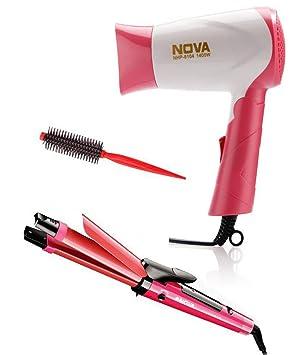 Nova Miss Freshers Combo Kit Hair Straightner, Hair Dryer, Hair Roller Hair Stylers