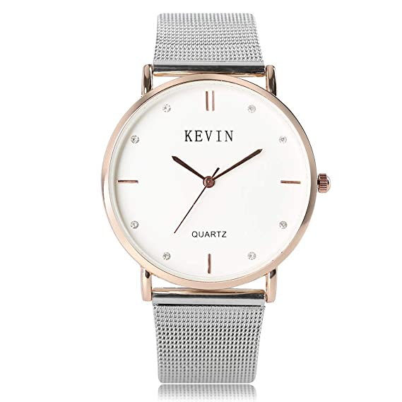 0e37142b8ada6c Kevin orologio da uomo, Silver Cystal Dial movimento al quarzo Orologio per  uomo, donna in acciaio INOX cinturino da polso: Amazon.it: Orologi