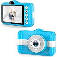 Câmera digital para crianças, câmera de vídeo digital 1080P com a tela IPS de 3,5 polegadas recarregável (Azul, 117mm X…