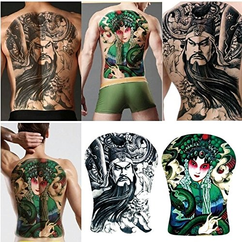 Geisha With Dragon Tattoo Costume (Asian warrior GEISHA girl TEMPORARY TATTOOS (2) His & hers UNISEX full back X LARGE sexy COUPLES fake tattoos Unisex temporary tattoo body art adult sex game 3d metallic body stickers)