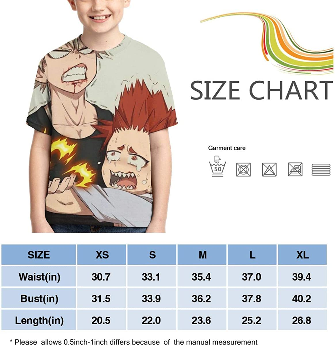 KiriBaku Boys and Girls 3D Printed T-Shirts Breathable and Comfortable Anime Short-Sleeved Funny Tops Black