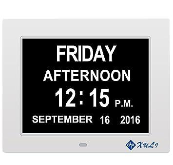 XULI Reloj Digital Calendario día y Hora - con función de Alarma - (Abreviatura de