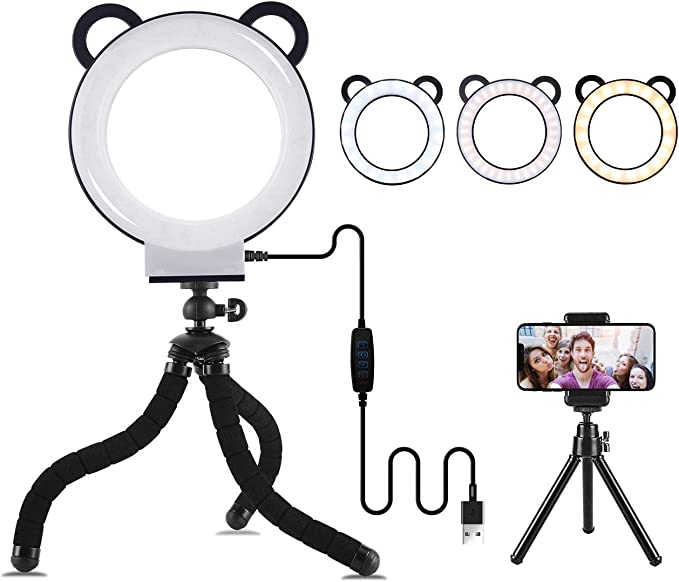 V BESTLIFE LED Ring Light,Mini Portable LED Video Light,3000-6500K Photography Lighting Lamp for Camera,Makeup. Black