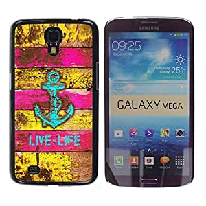 Be Good Phone Accessory // Dura Cáscara cubierta Protectora Caso Carcasa Funda de Protección para Samsung Galaxy Mega 6.3 I9200 SGH-i527 // Sea Boat Rustic Pink Teal