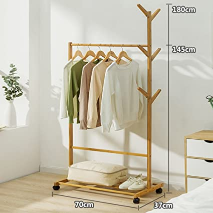 Solid Wood Coat Rack,Floor Drying Rack Simple Clothes Pole Indoor Drying  Rack Bedroom Hanger