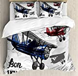 Going Away Party Decorations Duvet Cover Set by Ambesonne, Retro Airplane Poster Inspired Bon Voyage Lets Travel Fly, 3 Piece Bedding Set with Pillow Shams, Queen / Full, Blue Red Grey
