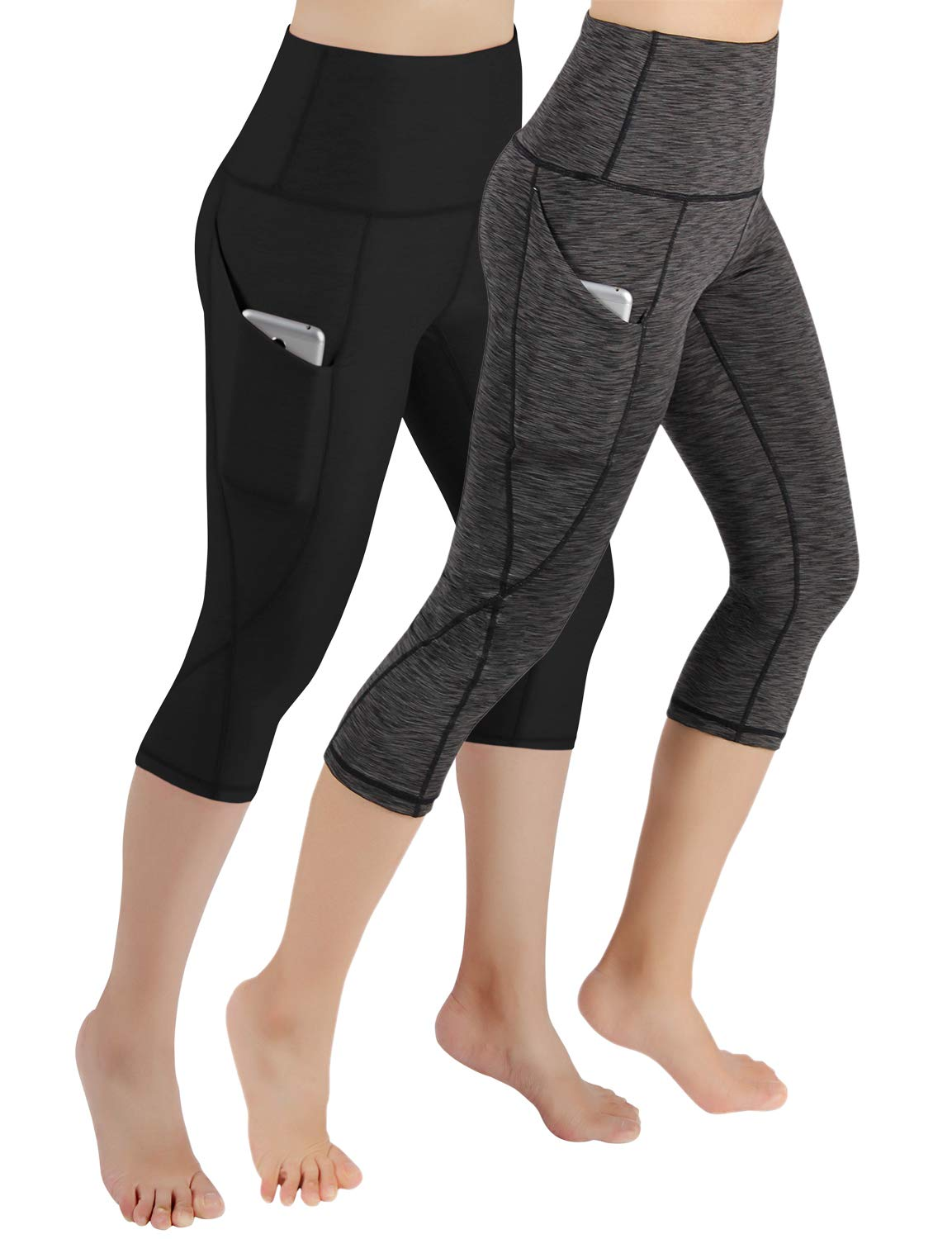 ODODOS Women's High Waist Yoga Capris with Pockets,Tummy Control,Workout Capris Running 4 Way Stretch Yoga Leggings with Pockets,BlackSpaceDyeCharcoal2Pack,XX-Large by ODODOS