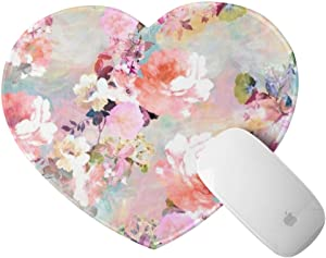 Heart Shaped Mouse Pad Watercolor Pink Flowers Pattern Small Mousepad with Designs Non-Slip Rubber with Stitched Edges Customized Mouse Mat for Women Girls Office Dorm Computer Laptop Travel
