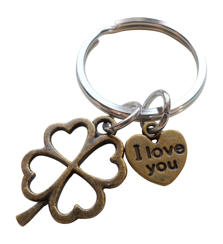 Bronze Four Leaf Clover Keychain with I Love You Heart Charm - Lucky to Have You JewelryEveryday 32914000435