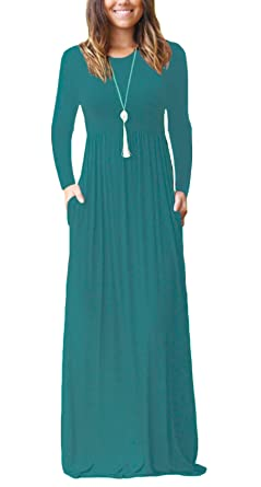 DEARCASE Women Long Sleeve Loose Plain Maxi Dresses Casual Long Dresses  with Pockets Acid Blue Small f7ef02974