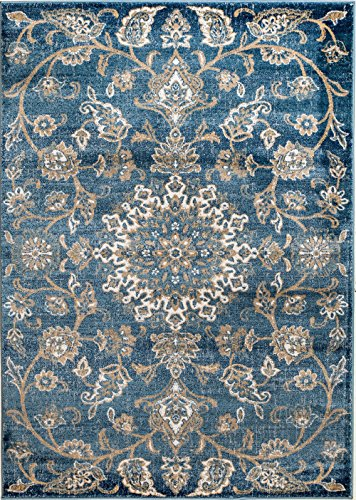 Area Wool Persian Rugs - MADISON COLLECTION 2B-D3MI-RJ5J 405 Vintage Distressed Oriental Persian Blue Area Rug Clearance Soft and Durable Pile. Size Option , 7'.4''x 10'.6''