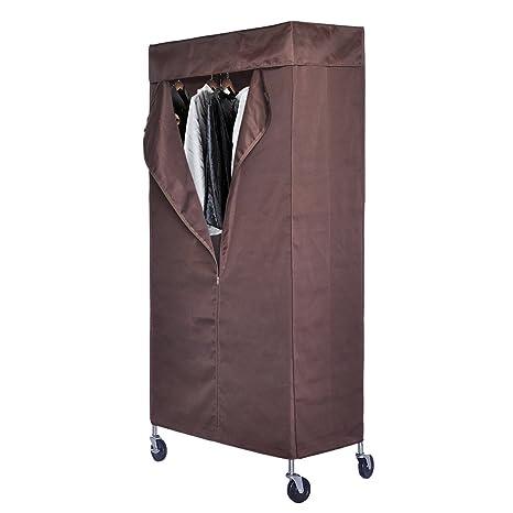HLC® Armario movible, Perchero de una barra para colgar ropa con 4 ruedas (