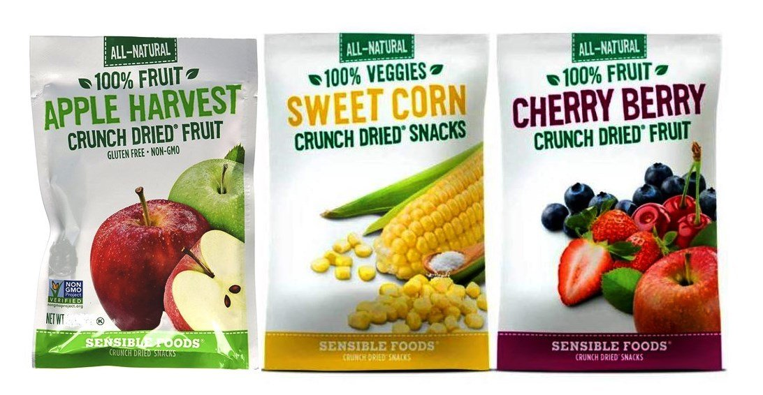 Sensible Foods All-Natural Gluten Free Vegan Non-GMO Crunch Dried Snacks Large Bag 3 Flavor Variety Bundle: (1) Apple Harvest Fruit, (1) Sweet Corn, and (1) Cherry Berry Fruit, 1.3 Oz. Ea. (3 Bags)