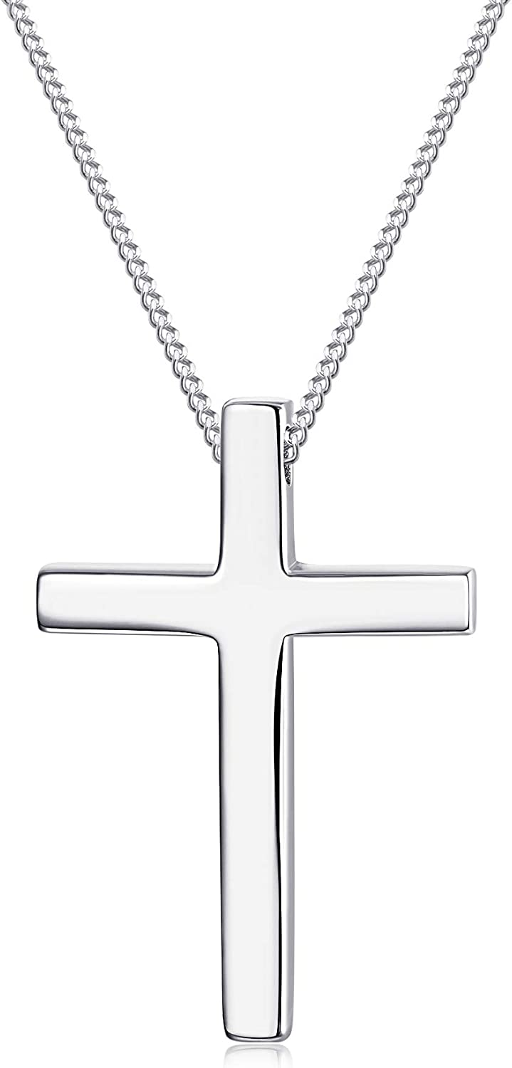 Sllaiss 925 Sterling Silver Cross Pendant Necklace For Men Women Christian Jewelry Cross Necklace 18 Inch