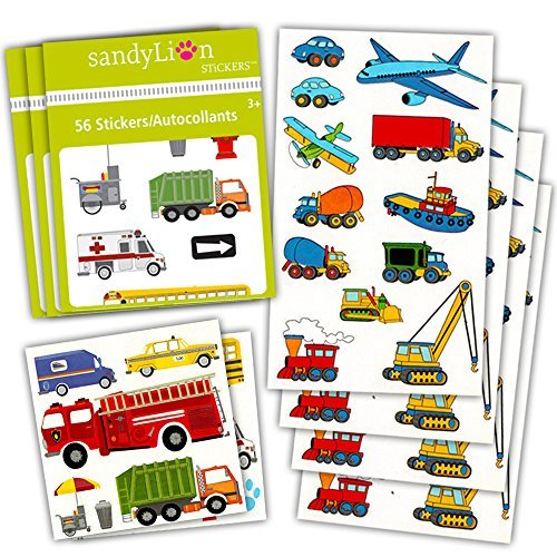 Cars and Trucks Stickers Party Supplies Pack Toddler -- Over 160  Stickers (Cars, Fire Trucks, Construction, Buses and More!)