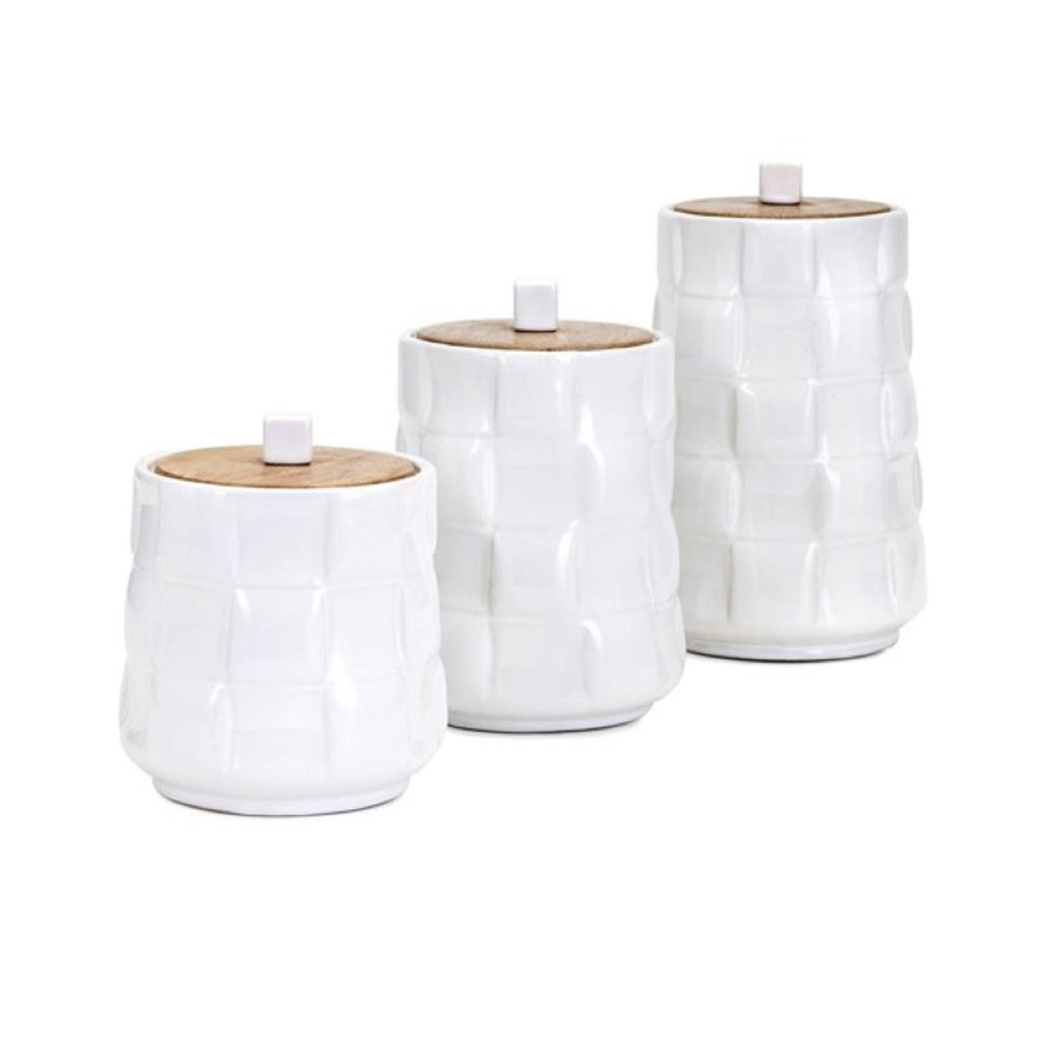Set of 3 Milky White Cylindrical Canisters with Cube Shaped Lid Lifts and Glaze Finish 8.5''