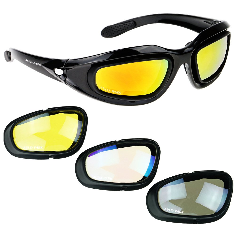 AULLY PARK Polarized Motorcycle Riding Glasses Black Frame with 4 Lens Kit for Outdoor Activity Sport by AULLY PARK