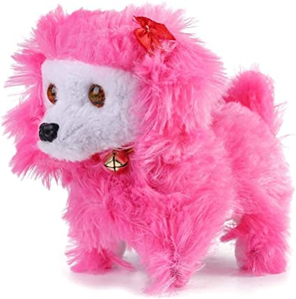 HollyHOME Plush Bichon Frise Electronic Interactive Toy Walking,Barking,Wagging Tail,Stretching Puppy Dog 7 Inches Gifts for Kids