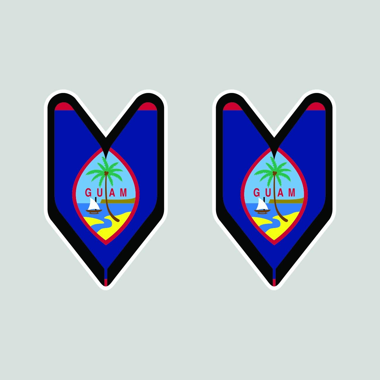 Amazon com magnet two pack guam driver badge magnetic vinyl wakaba leaf soshinoya guamanian gu car magnet bumper sticker automotive