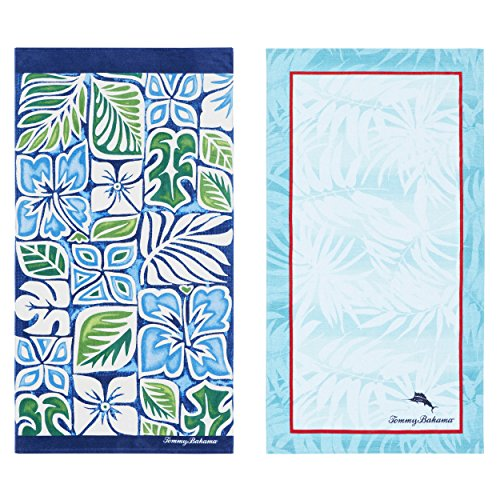 Tommy Bahama 220655 Tiki Block 2Piece Beach Towel Set,Blue,