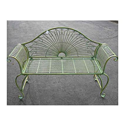 Surprising Garden Bench 37 High Wrought Iron Antique Green Finish Ibusinesslaw Wood Chair Design Ideas Ibusinesslaworg
