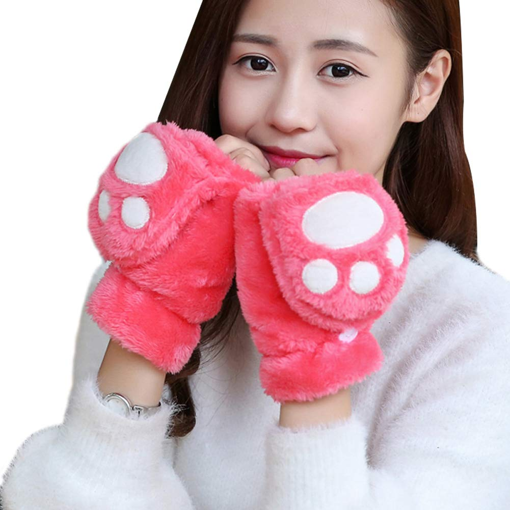Vi.yo mujeres ni/ñas medio dedo mitones guantes con tapa protectora felpa linda pata de gato garra guante mano suave para correr deporte al aire libre