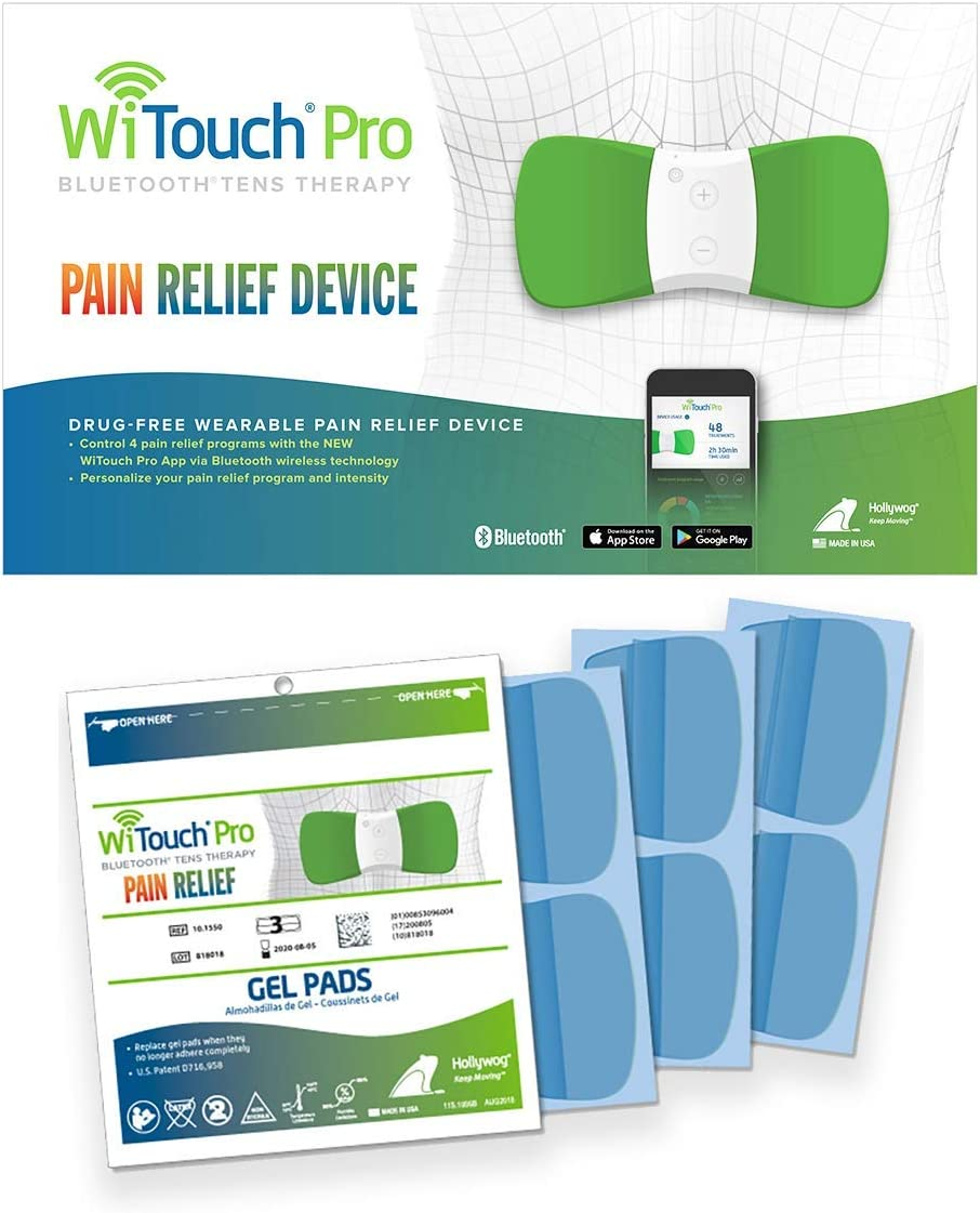 WiTouch Pro Back Pain Relief Bundle, TENS Unit Plus 6 Pairs of Gel Pads