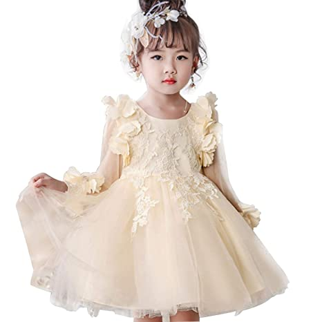 6ef6e48a3 Amazon.com: Girl Dress Party Birthday Wedding Princess Toddler Baby Girls  Christmas Clothes Children Kids Girl Dresses,Champagne,6: Kitchen & Dining