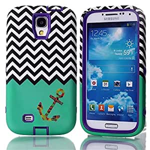 Samsung Galaxy S4 Case, LERBO Hybrid Shockproof Cover Hard Armor Shell and Silicone Skin Chevron Pattern with Anchor Design Case for Samsung Galaxy S4 i9500(Purple)