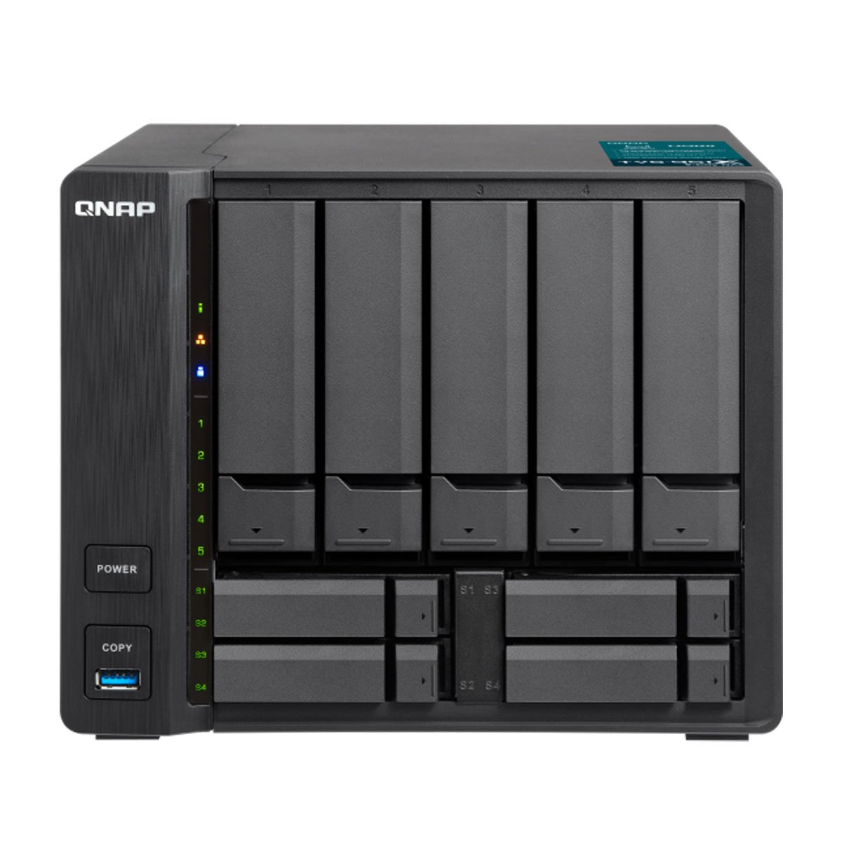 QNAP TVS-951X-8G-US 5+4 Bay NAS Intel Celeron Dual-core 1.8 GHz, 8GB DDR4 with 1 x 10GbE NBASE-T LAN, 1 x GbE LAN, 1 x HDMI