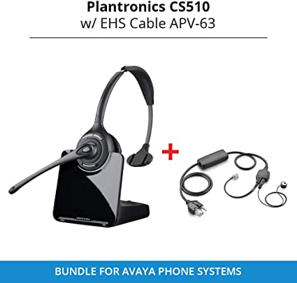 Amazon Com Plantronics Cs510 Over The Head Monaural Wireless Headset System With Ehs Cable Apv 63 Bundle For Avaya Phone Systems Home Audio Theater
