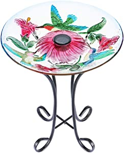 "MUMTOP Outdoor Glass Birdbath Solar Birdbaths with Metal Stand for Lawn Yard Garden Hummingbird Decor,18"" Dia21.65 Height"