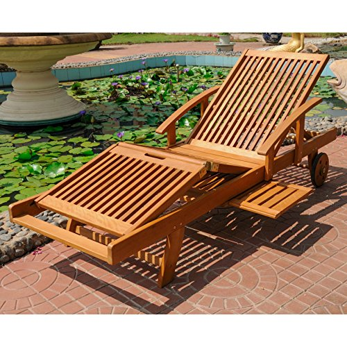 - Wooden Multi-Position Outdoor Patio Chaise Lounge, Solid Wood Construction, All-Weather and Water Resistant, Brown Color + Expert Guide