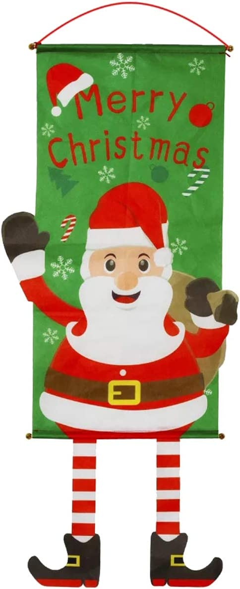 ZLY Christmas Hanging Sign- Creative Santa Christmas Merry Design Door Vertical Hanging Decoration Sign for Xmas Wall Indoor Outdoor Home Ornament Party Decorations