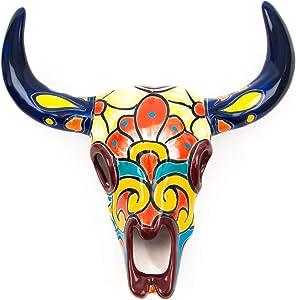 Jayde N' Grey Hand Painted Mexican Talavera Ceramic Bull Head Bull Skull Ceramic Wall Sculpture Indoor Outdoor Garden Faux Taxidermy (Small (10 x 3 x 11), Navy Multi)