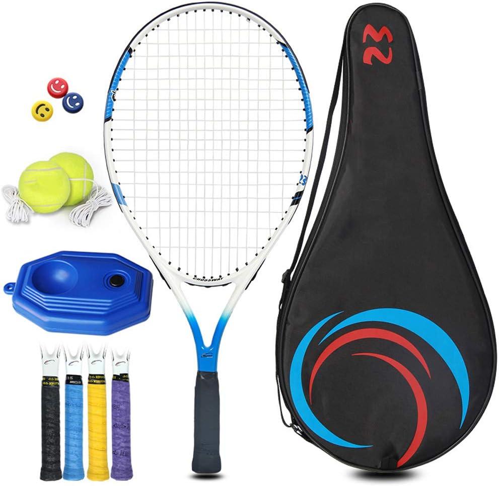 JDDSA Raqueta de Tenis Set para niños, Raqueta de Tenis de Aluminio, para Juegos en Todas Las áreas,Blue White,023