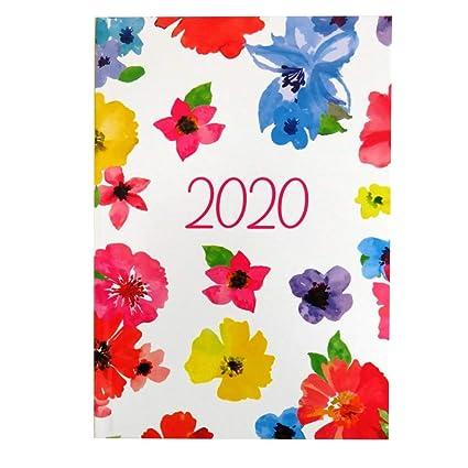 Agenda de 2020, vista semanal, tamaño A5, diseño de flores o ...