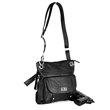 Amazon.com  Premium Leather Crossbody Style Locking Concealment Purse - CCW  Concealed Carry Gun - Wire Reinforced Strap (Black)  Clothing dfd1744c38961