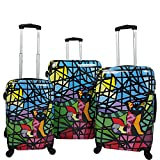 Chariot Cat Stained Glass Art 3-Piece Hardside Lightweight Spinner Luggage Set, Glass Cat