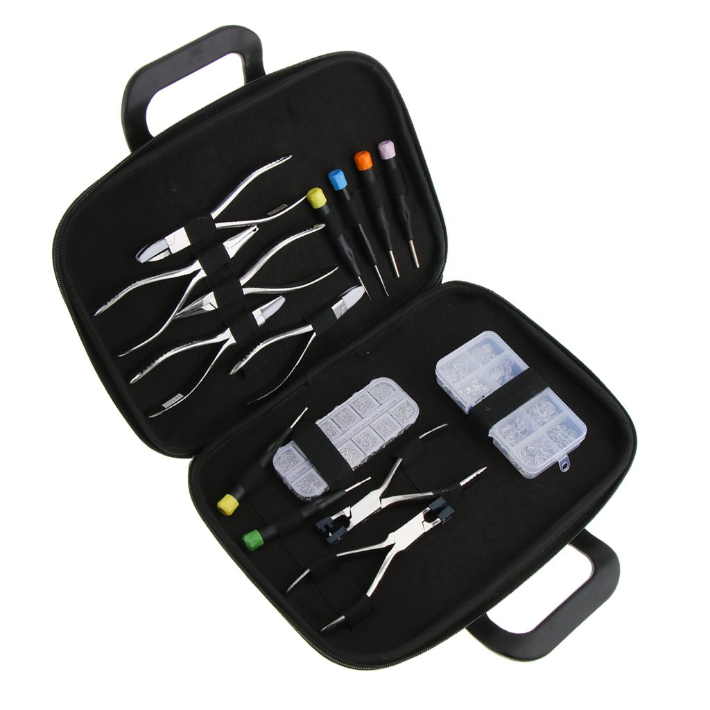 Dovewill 15pcs Professional Metal Plastic Eyeglass Repair Kit - 1 Box Screw Nut + 1 Box Nose Pads + 6pcs Screwdrivers + 7pcs Pliers + 1pcs Storage Holder Bag