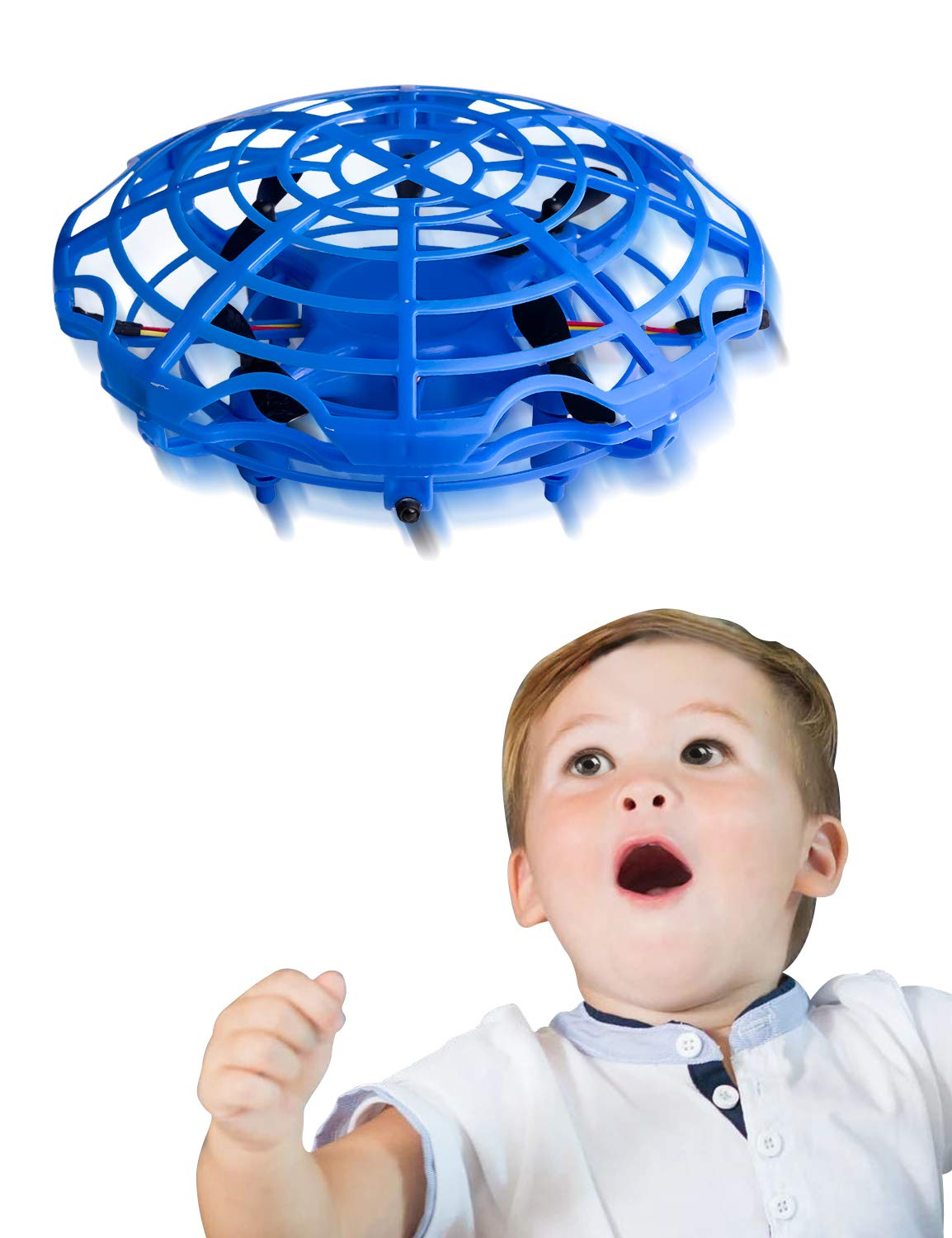 Refasy 3 Year Old Girl Gift Ideas, UFO Hand-Controlled Mini Drone Helicopter Flying Ball Toys for 3-12 Year Old Boy Outdoor Toys LED Light for Kid 8-12 Year Old or Adults Blue