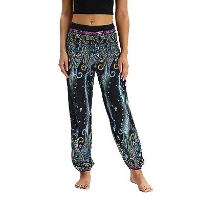 Pantalon de Yoga Femme Floral Imprimer Élastiquée Taille Pantalon Pyjamas  Pantalons Casuel Pants Boho Harem Pantalon 2a35e3f73c4