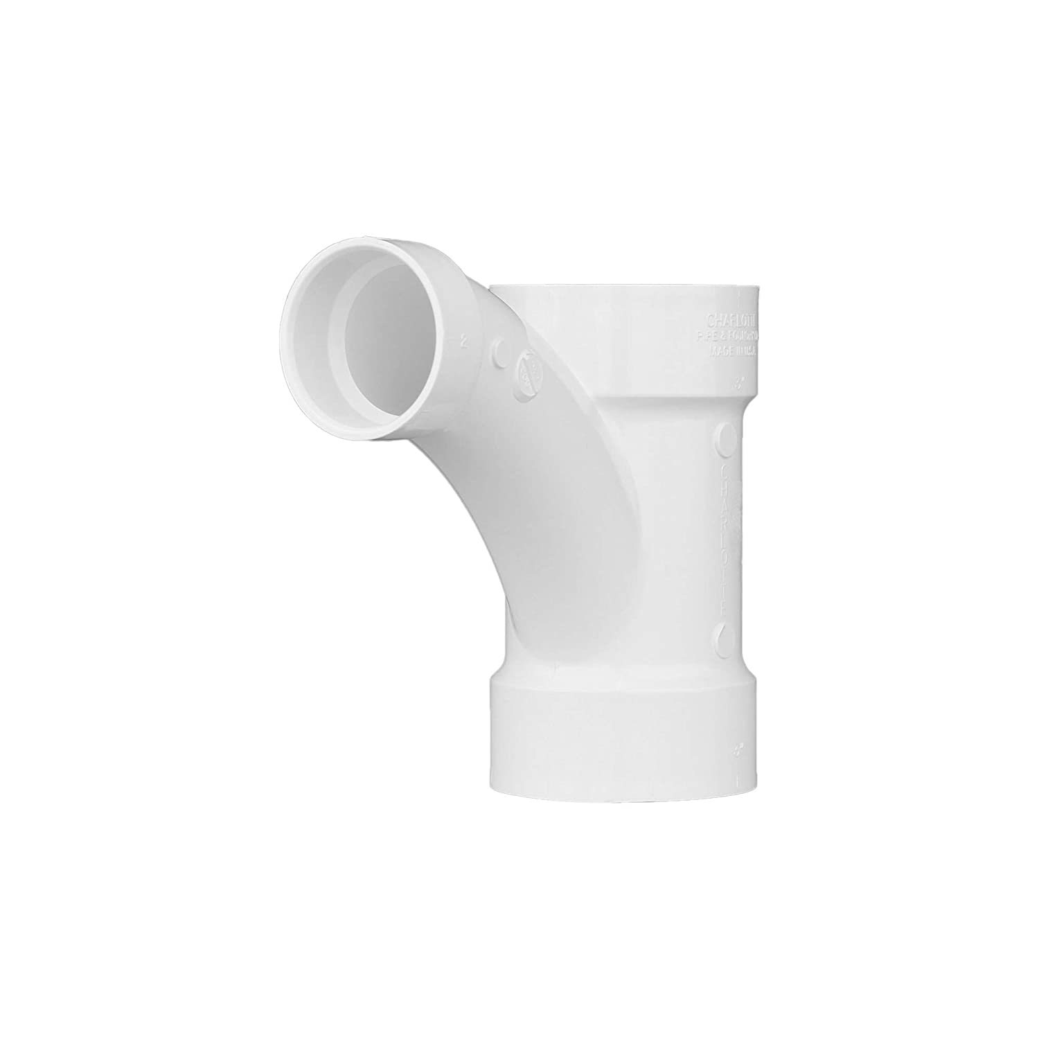 """Charlotte Pipe 3"""" X 3"""" X 2"""" Comb Wye Pipe Fitting - and 1/8"""" Bend 1"""" Piece Schedule 40 PVC DWV (Drain, Waste and Vent) Durable and Easy to Install for Home or Industrial Use (Single Unit)"""
