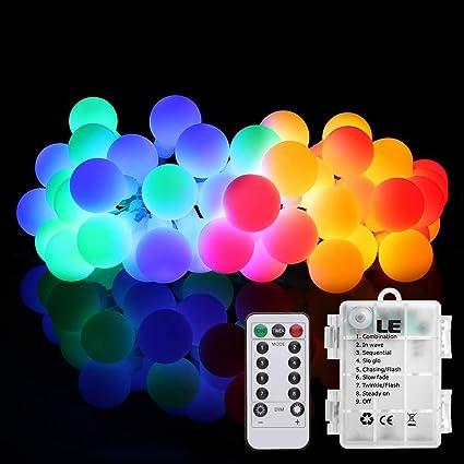 Lighting EVER LE Guirnalda Luces LED, 5m 50 LED 8 Modos, Cadena de Luz, Pilas, Temporizador, Resistente al Agua, Decoración de casa, cafetería, ...