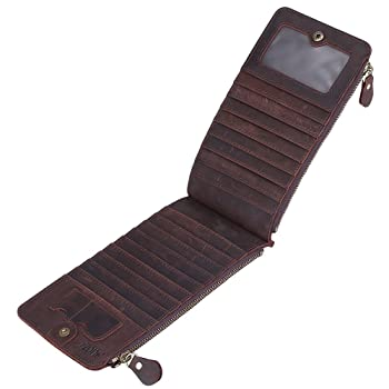 Big Sale - S-ZONE Men's Vintage Crazy Horse Leather Multi Credit Card Holder Organizer Wallet with Zipper Pocket