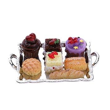 KESOTO Bandeja con Pastel con Detalles, Accesorios de Cocina de Casa de  Muñecas 1:12, Diseño Delicado - Plata