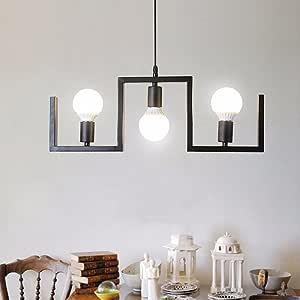 BAJIAN-LIwrought-Iron Chandelier Lighting Pendant Lamp E27 Industrial Retro Dining Room Lounge * 3 bedrooms Study Interior Lighting Lamp,White Light