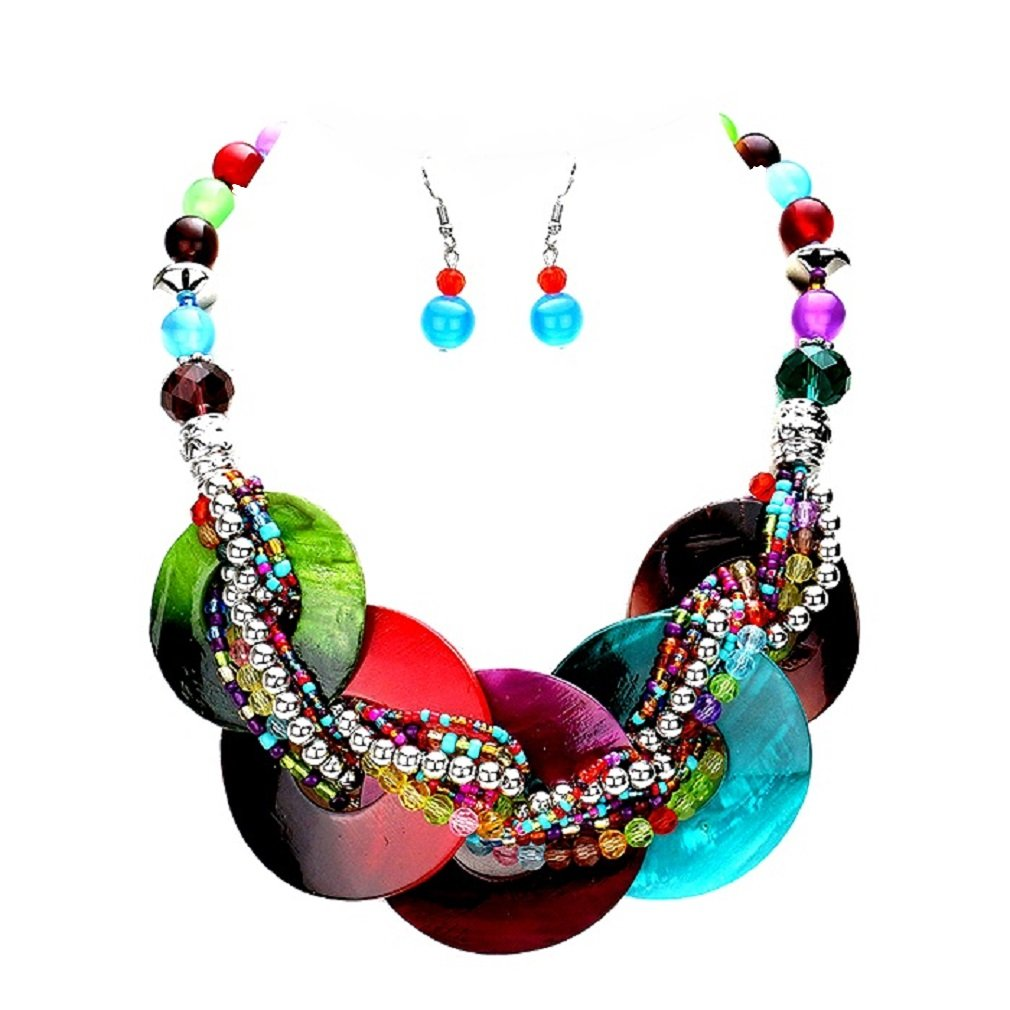 Chunky Multi-Colors Abalone Shell Braid Stand Silver beads Necklace Earrings Set Jewelry