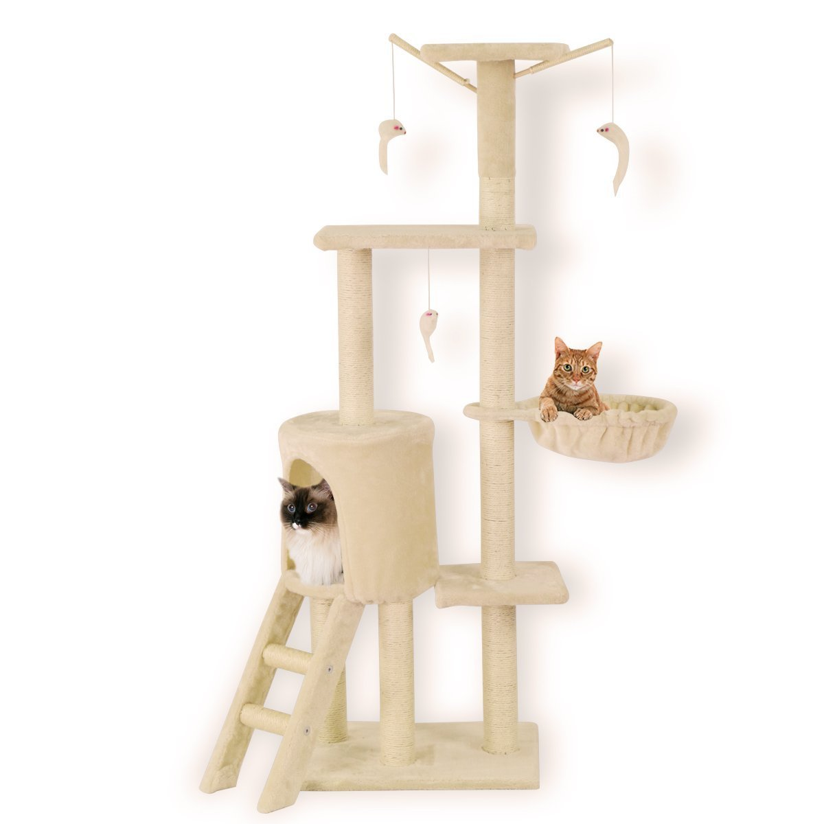 FIRSTWELL Cat Tree Condo Tower Kitty Furniture Kitten Play House with Scratching Post, Hammock, Perch, Hanging Toy, PCT015, Beige