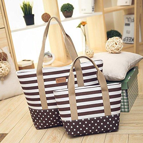 Shoppers Multicolor Logobeing Totalizador de Bandolera Bolso Café Mujer Lona Bolso Bolso Hombro Rayas Bags IxgTH